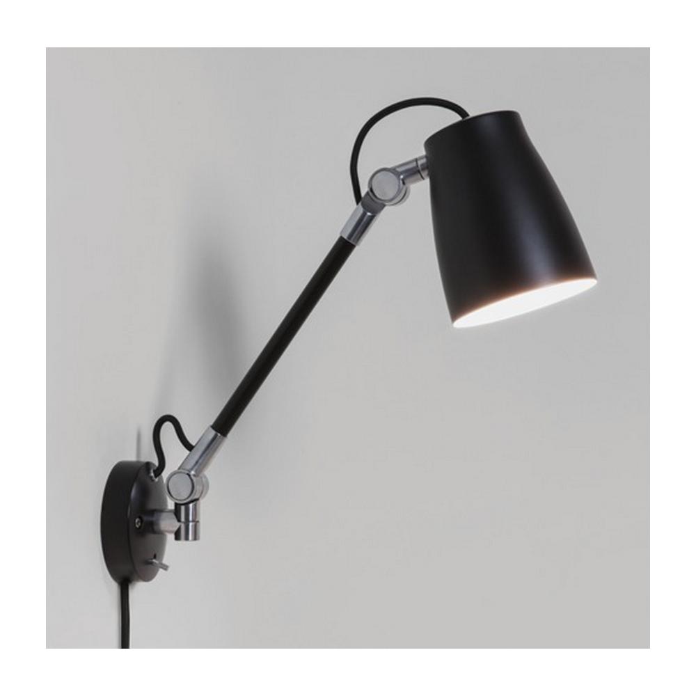 Atelier grande industrial wall light in black finish 7505