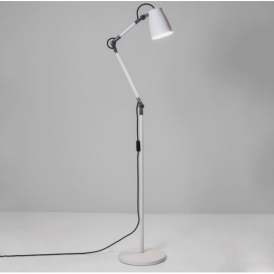 Atelier Industrial Floor Lamp in White Finish 4560 + 4566