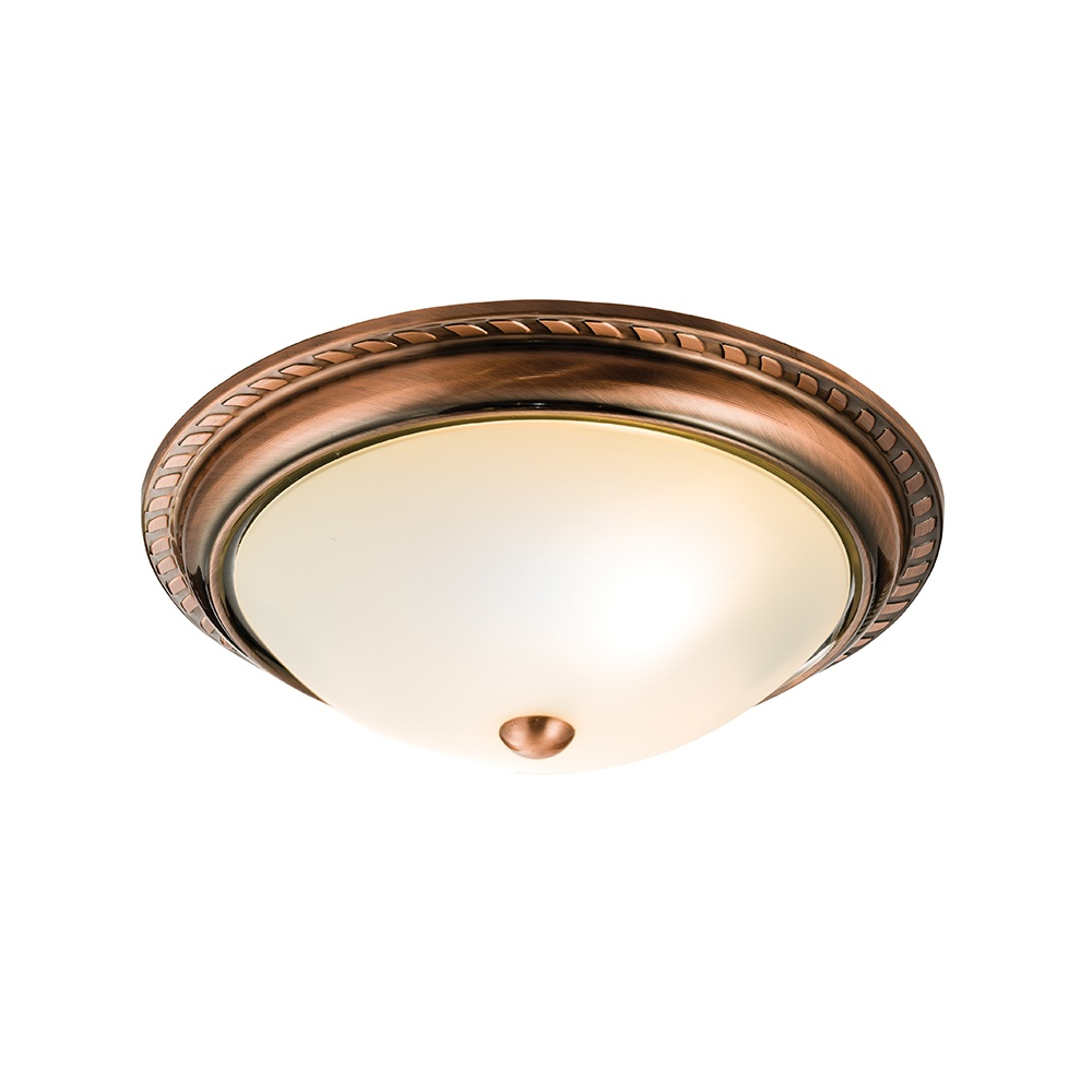 best service 14cbd 45b72 Athens Classic Flush Ceiling Light in Antique Copper Finish 61240