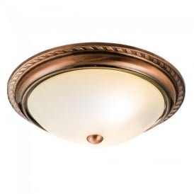 athens classic flush ceiling light in antique copper finish