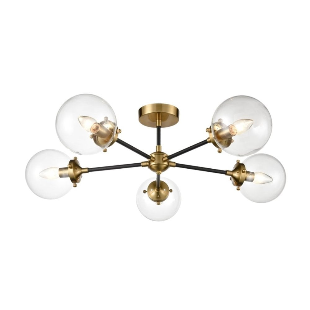 designer fashion 77772 46503 Attraction Stylish 5 Light Semi Flush Ceiling Light In Antique Gold Finish  FL2409-5