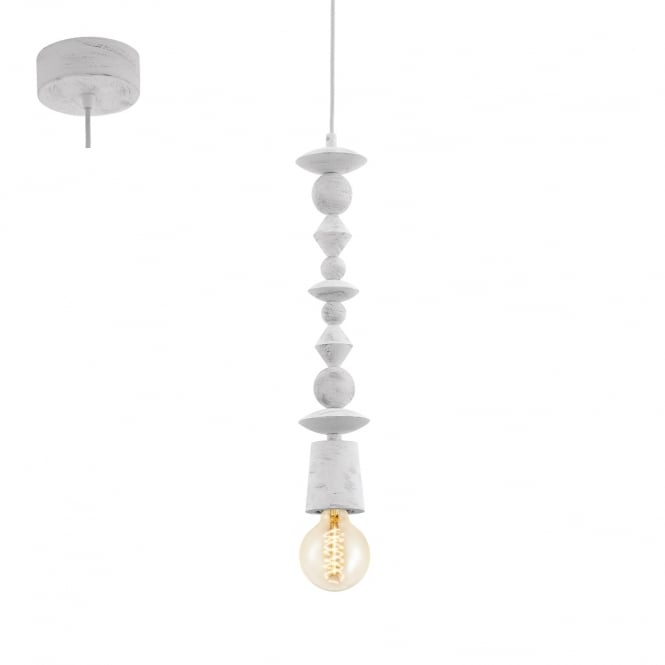 Eglo Lighting Avoltri Contemporary Wooden Ceiling Pendant Light In Patina White Finish 49371