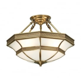 Balfour Stylish 4 Light Semi Flush Ceiling Fitting In Antique Brass Finish SN02P47