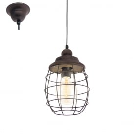 Bampton Vintage Ceiling Pendant Light In Patina Brown Finish 49219