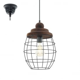 Bampton Vintage Large Ceiling Pendant Light In Patina Brown Finish 49499