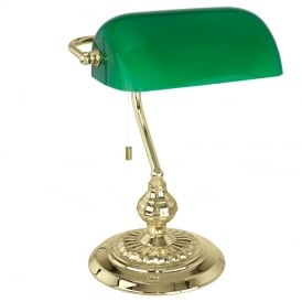 Banker Classic Table Lamp In Brass Finish With Green Glass Shade 90967