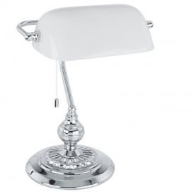 Banker Classic Table Lamp In Chrome Finish With White Glass Shade 90968