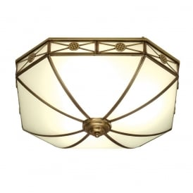 Bannerman Classic Flush Ceiling Light In Antique Brass Finish With Frosted Glass SN04FL50
