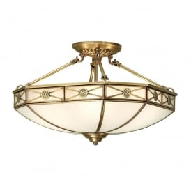 Bannerman Classic Semi Flush Ceiling Light In Antique Brass Finish With Frosted Glass SN04P50