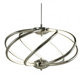 Bardot Modern LED 6 Curved Arm Ceiling Pendant In Polished Chrome Finish 6500-7CC