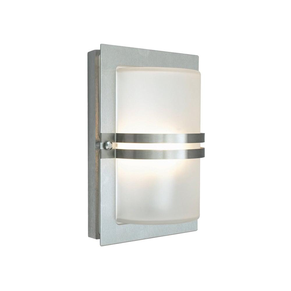 Norlys lighting basel outdoor flush wall light in stainless steel finish basel e27 s s f