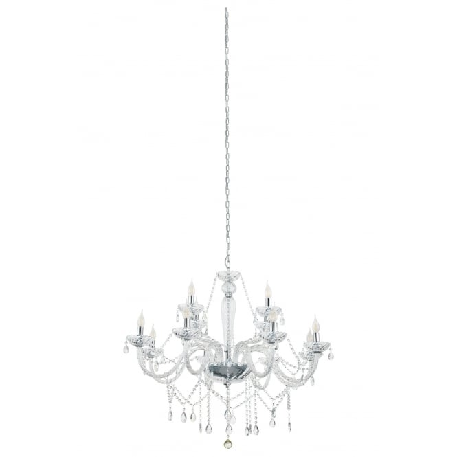 Eglo Lighting Basilano 1 Chrome 12 Light Ceiling Chandelier With Clear Glass 39102