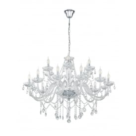 Basilano 1 Chrome 18 Light Ceiling Chandelier With Clear Glass 39103