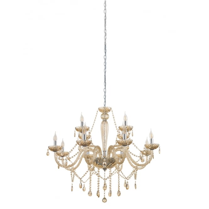 Eglo Lighting Basilano 12 Light Ceiling Chandelier In Chrome Finish With Cognac Glass 39094