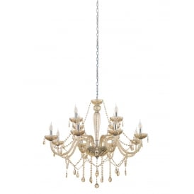 Basilano 12 Light Ceiling Chandelier In Chrome Finish With Cognac Glass 39094