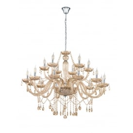 Basilano 18 Light Ceiling Chandelier In Chrome Finish With Cognac Glass 39095