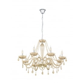 Basilano 8 Light Ceiling Chandelier In Chrome Finish With Cognac Glass 39093