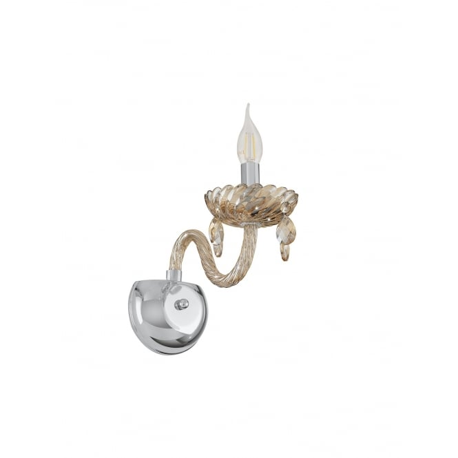 Eglo Lighting Basilano Single Wall Light In Chrome Finish With Cognac Glass 39096