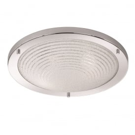 Bathroom Flush Ceiling Light In Chrome Finish With Circle Detail Design CF5755
