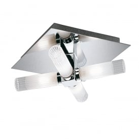 Bathroom Flush Ceiling Light In Chrome Finish With Frosted Glass Shades IP44 CF1286
