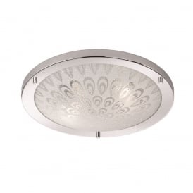 Bathroom Flush Ceiling Light In Chrome Finish With Leaf Pattern Design CF5751