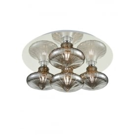 Bathroom LED Flush Ceiling Light In Chrome With Smoked Transparent Glasses IP44 CF5777/990