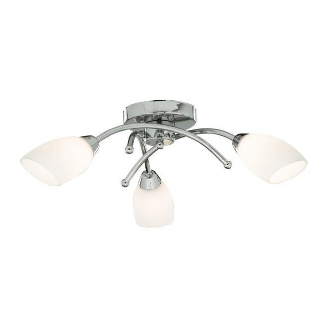 Searchlight Bathroom Semi Flush Ceiling Light In Chrome Finish With Opal Shades 4483-3CC-LED
