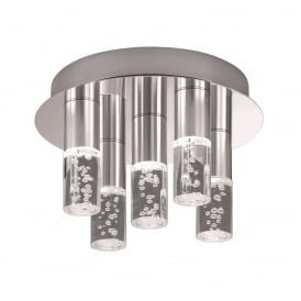 Bathroom Semi Flush Ceiling Light In Satin Nickel Finish With Bubbled Effect Stems CF5764