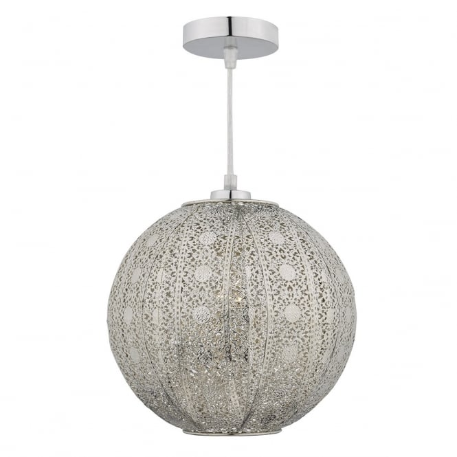 Dar Lighting Bazar Easy Fit Pendant Lampshade In Antique Silver Finish BAZ6532