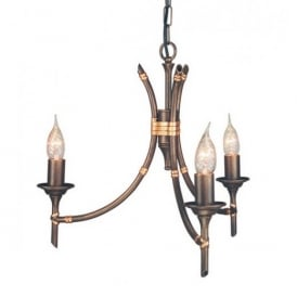 BB3 Bamboo bronze ceiling pendant three light
