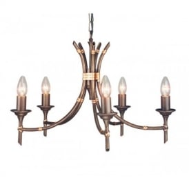 BB5 Bamboo bronze ceiling pendant five light