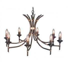 BB8 Bamboo ceiling pendant in bronze eight light