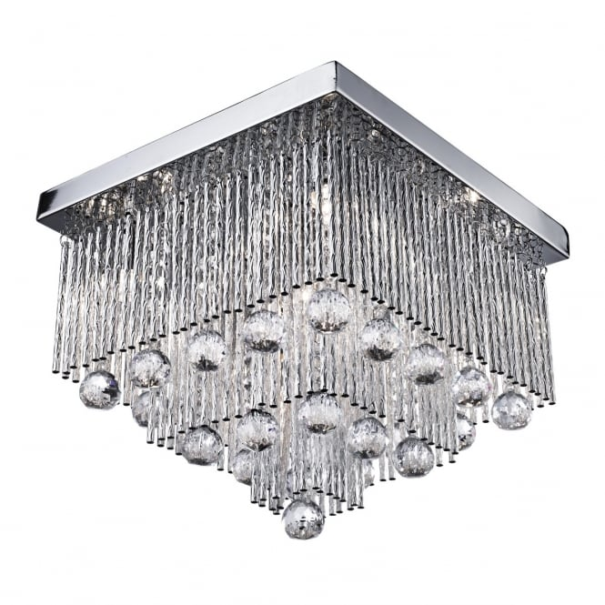 Searchlight Beatrix 5 Light Crystal Square Ceiling Flush Fitting In Chrome Finish 6055-5CC