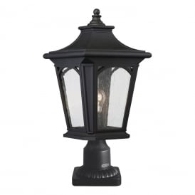 Bedford Outdoor Medium Pedestal Lantern In Mystic Black Finish IP44 QZ/BEDFORD3/M