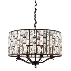 Belle Crystal Large Ceiling Pendant Light In Dark Bronze Finish 69391