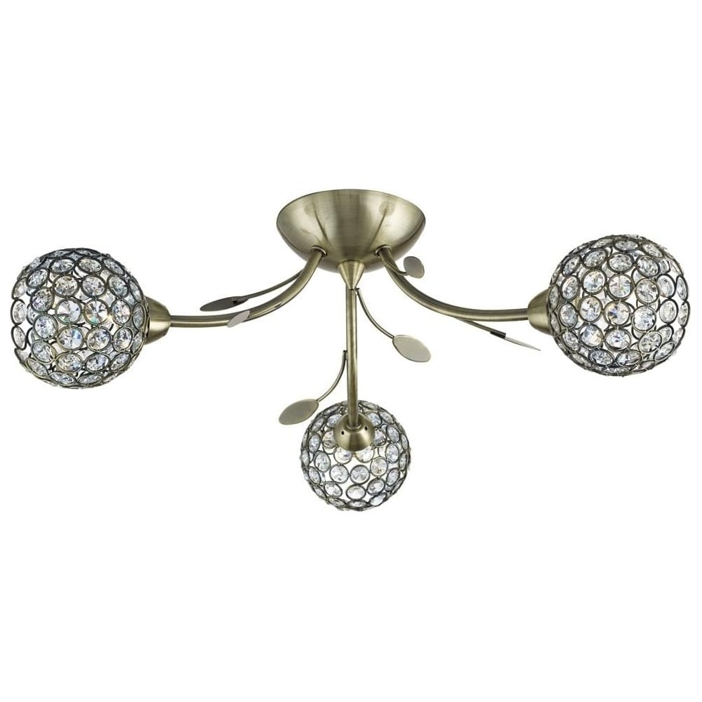 Searchlight Bellis Ii Antique Brass Glass 3 Light Semi