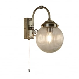Belvue Bathroom LED Single Wall Light In Antique Brass With Ribbed Glass Shade 3259AB