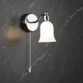 Belvue Bathroom LED Single Wall Light With Bell Shaped Shade 2931-1CC-LED