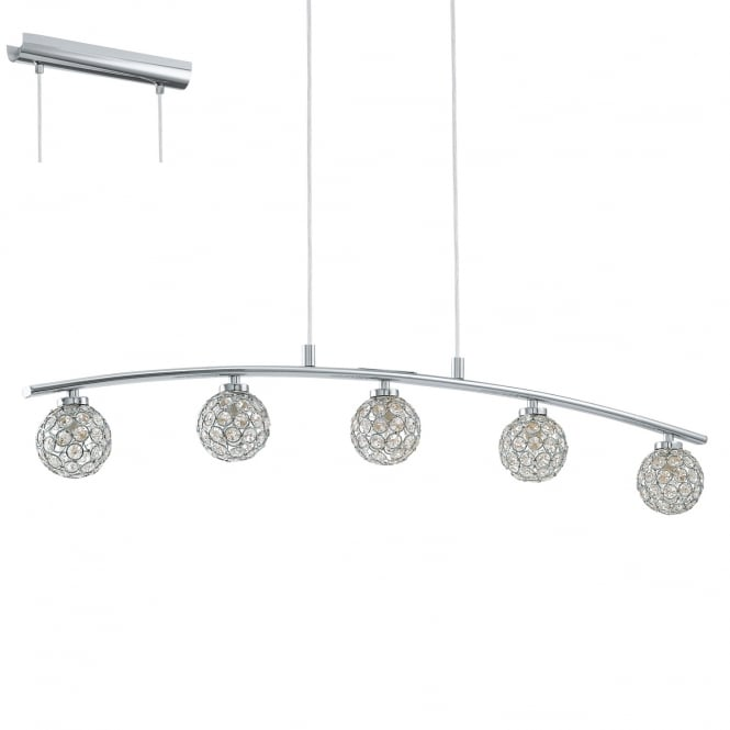 Eglo Lighting Beramo Five Light Ceiling Bar Pendant In Chrome Finish With Crystal Glass 92567