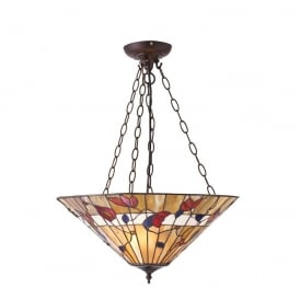 Bernwood Tiffany Inverted Ceiling Pendant Light In Earthy Warm Colours 63949