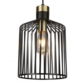 Bird Cage Medium Ceiling Pendant Light In Matt Black Finish 9413BK