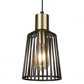 Bird Cage Small Ceiling Pendant Light In Matt Black Finish 9412BK
