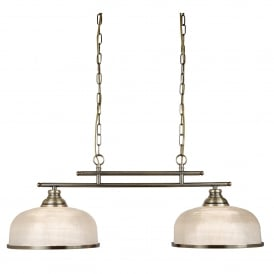 Bistro II Classic 2 Light Ceiling Bar Pendant In Antique Brass With Glass Shades 3592-2AB