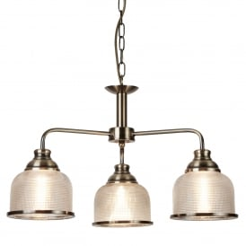 Bistro II Classic 3 Light Ceiling Pendant In Antique Brass With Glass Shades 1683-3AB