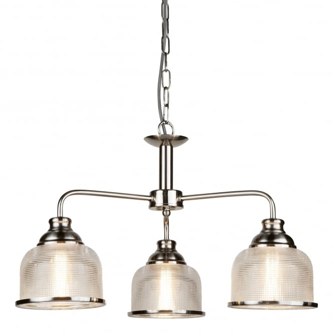 Searchlight Bistro II Classic 3 Light Ceiling Pendant In Satin Silver Finish With Glass Shades 1683-3SS