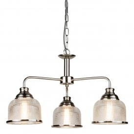Bistro II Classic 3 Light Ceiling Pendant In Satin Silver Finish With Glass Shades 1683-3SS