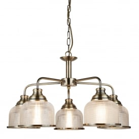 Bistro II Classic 5 Light Ceiling Pendant In Antique Brass With Glass Shades 1685-5AB