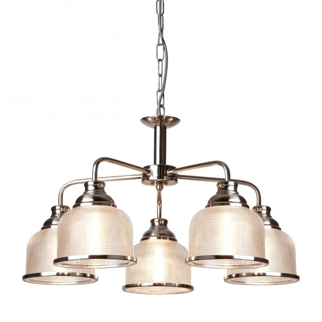 Searchlight Bistro II Classic 5 Light Ceiling Pendant In Satin Silver With Glass Shades 1685-5SS