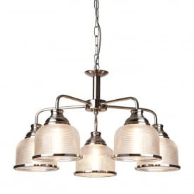 Bistro II Classic 5 Light Ceiling Pendant In Satin Silver With Glass Shades 1685-5SS