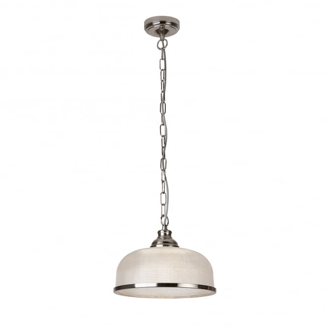 Searchlight Bistro II Classic Ceiling Pendant In Satin Silver Finish With Glass Shade 1682SS